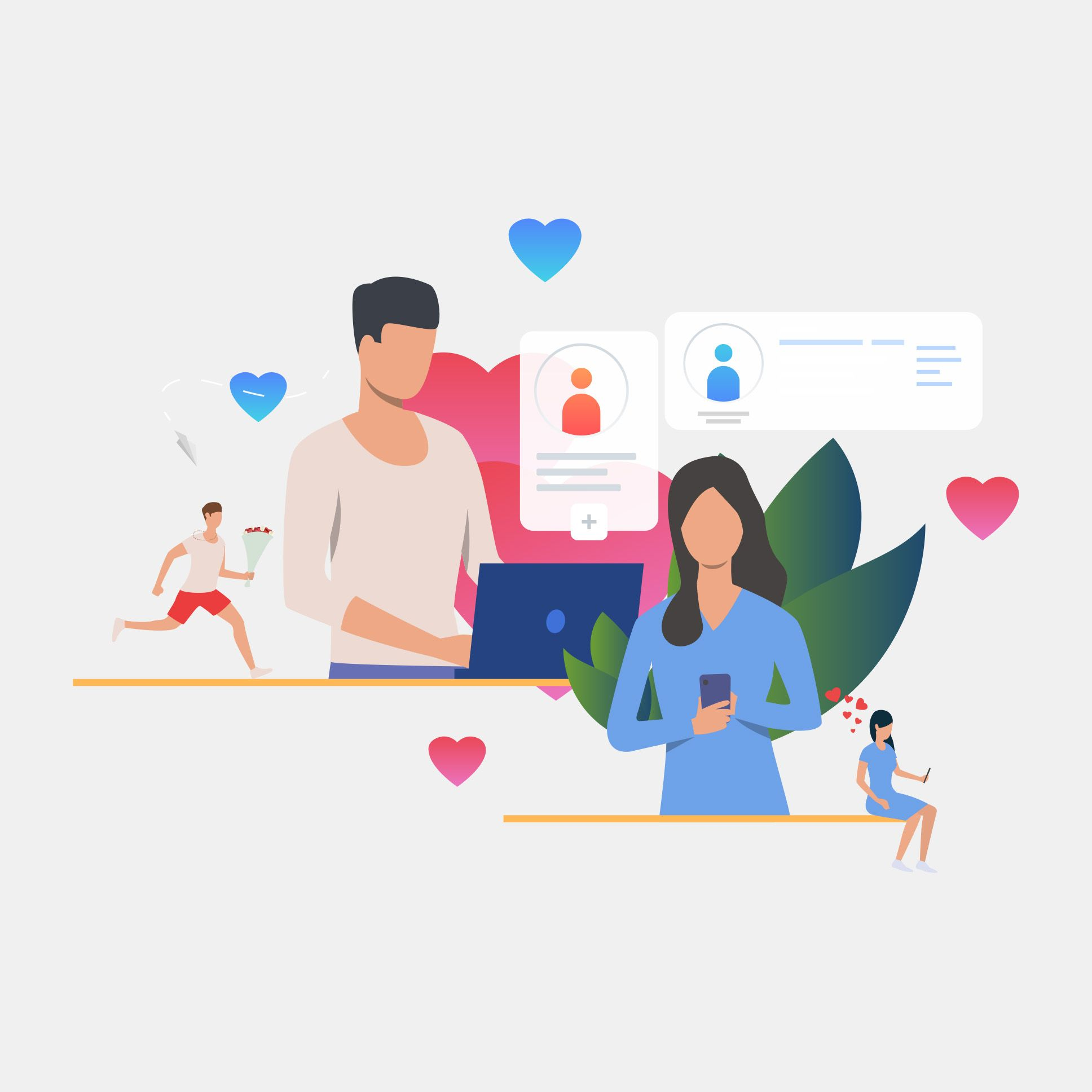 Illustration of communication on a dating site